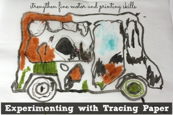 tracing paper activity for fine motor and printing skills