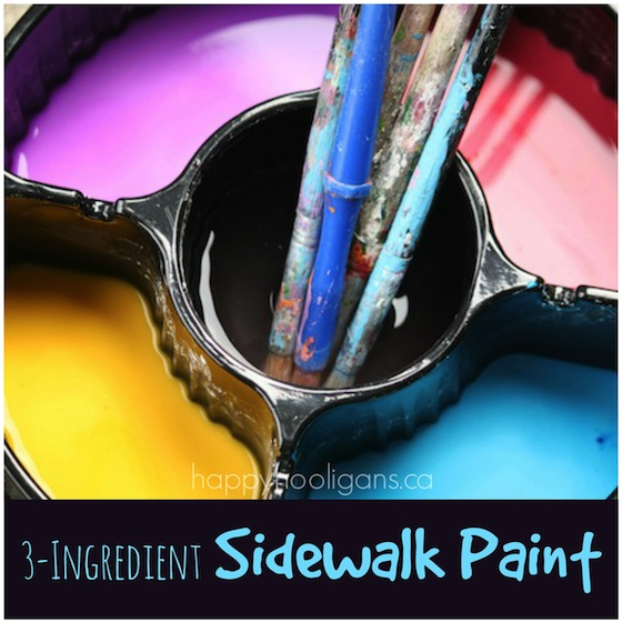 3 ingredient homemade sidewalk paint recipe - happy hooligans