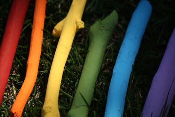 painted sticks for homemade wind chimes