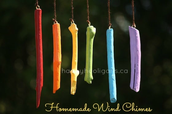 homemade wind chimes with painted sticks