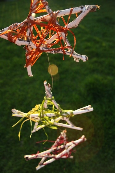 Summer Twig star outdoor Ornaments made by kids
