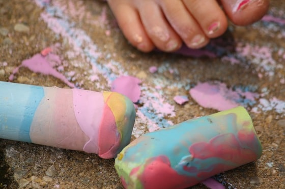 chalk dipped in sidewalk paint