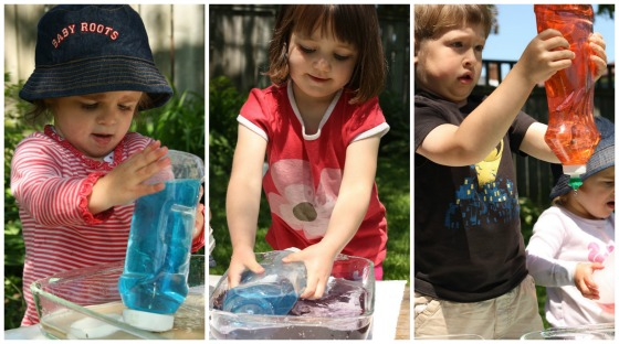 squeezing, lifting, squirting water - gross motor development