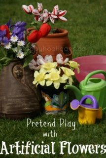 pretend play with artificial flowers