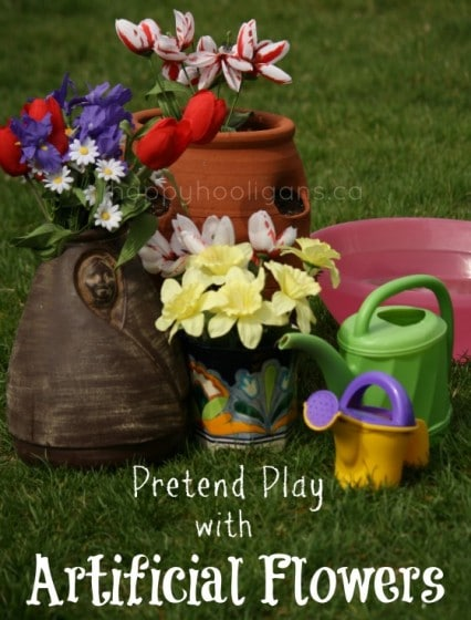Pretend Play with Artificial Flowers – for Toddlers and Preschoolers
