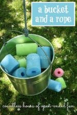 """Bucket and Rope """"Pulley"""" Contraption for the Backyard Play Space"""