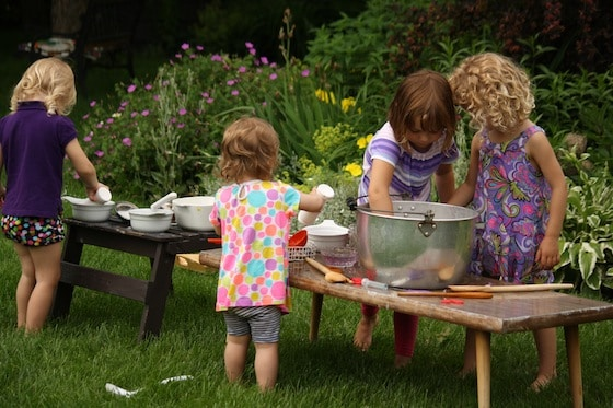 making fairy soup in the garden