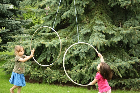 rope and hula hoop activity - hang it from a clothesline or tree branch