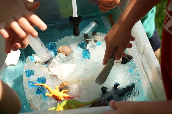 dino dig: a sensory, fine motor and science activity