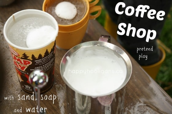coffee shop pretend play activity with sand, soap and water