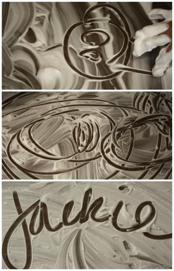 doodling in shaving cream