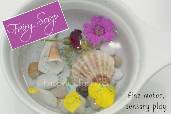 fairy soup - fine motor, sensory play in the garden (happyhooligans