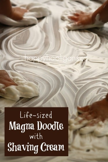 life size magna doodle - shaving cream on a table top