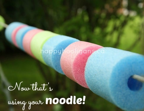 pool noodles and rope for loose part play