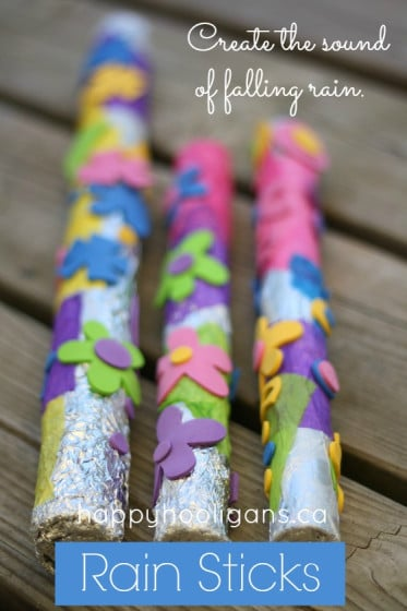 rain sticks for kids to make - in a collection of spring crafts for kids
