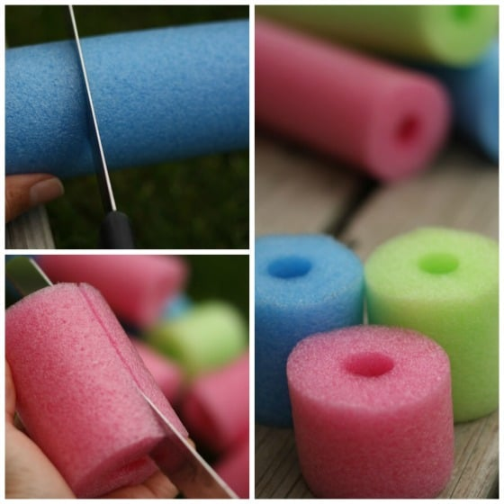 turn a pool noodle into an abacus