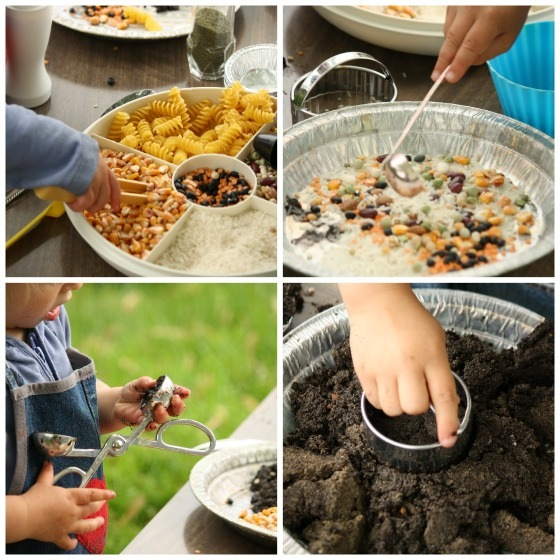 collage of kids making mudpie: tweezing, ladeling, scooping, cutting