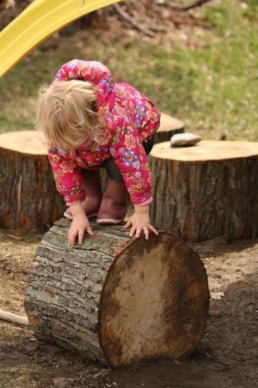 toddler balancing on tree stumps