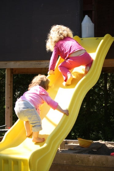balancing activity - climbing the slide