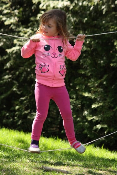 backyard balancing activities - tight rope