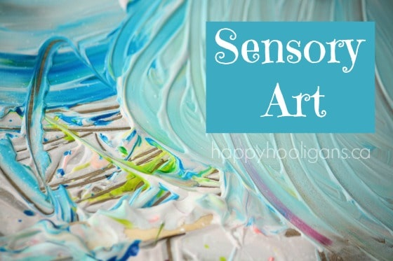 sensory art for kids with shaving cream and food colouring