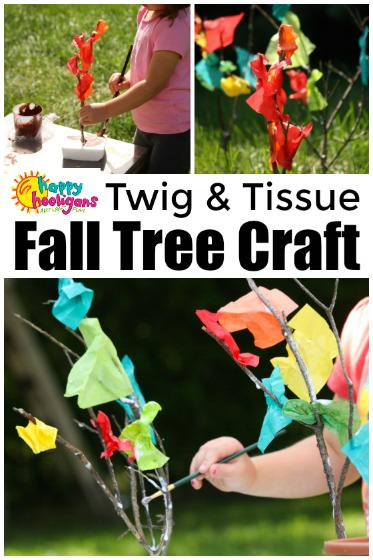 Twig and Tissue Paper Fall Tree Craft for Preschoolers