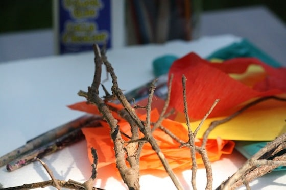 Twigs and tissue paper for a fall tree craft