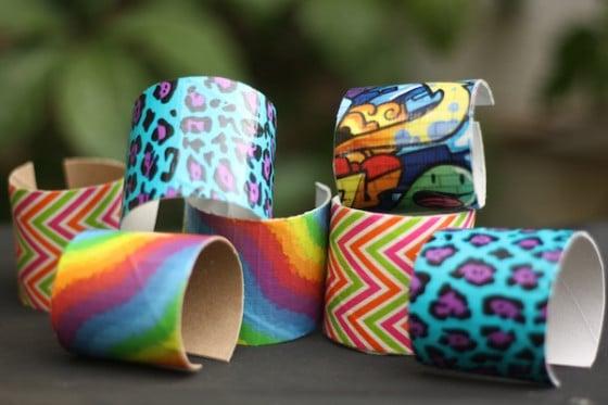 4 varieties of duck tape bracelets