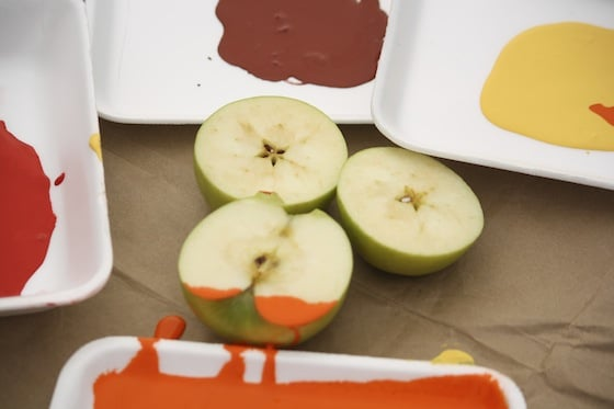 apples and paint for stamping