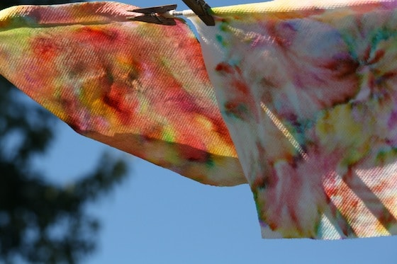 paper towel art drying on clothesline