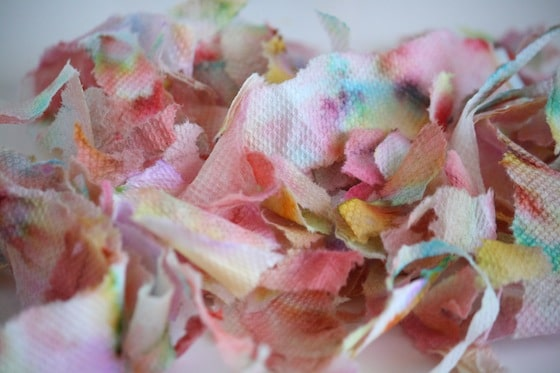 paper towel art torn into small pieces