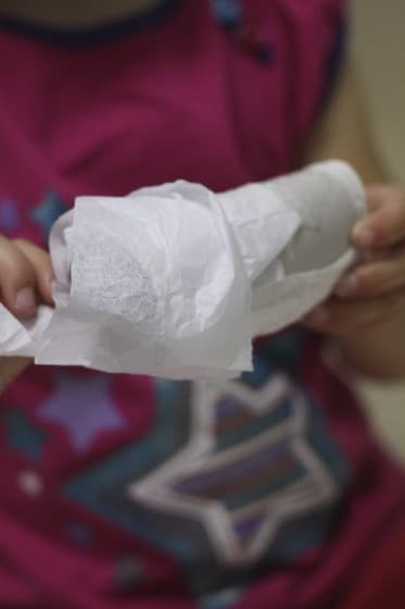 wrap the strips of tissue paper around your cardboard tube