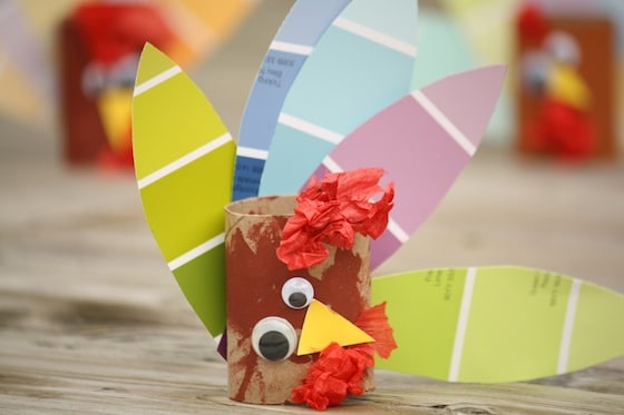 3 paint chip / toilet roll turkeys