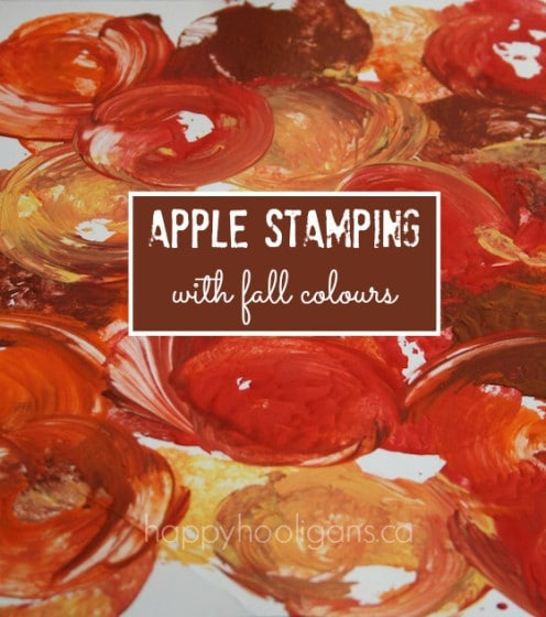 apple stamping with fall colours