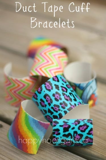 Duct Tape Bracelets – Fun and funky Cardboard Bracelet Craft