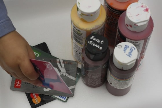 supplies for painting with a credit card