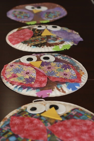 4 paper plate owl craft