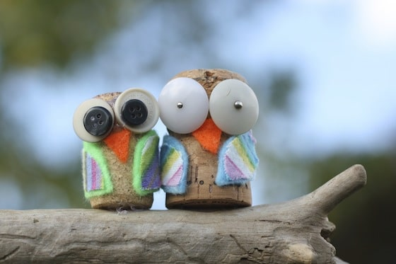 cork owls with fabric scraps and buttons