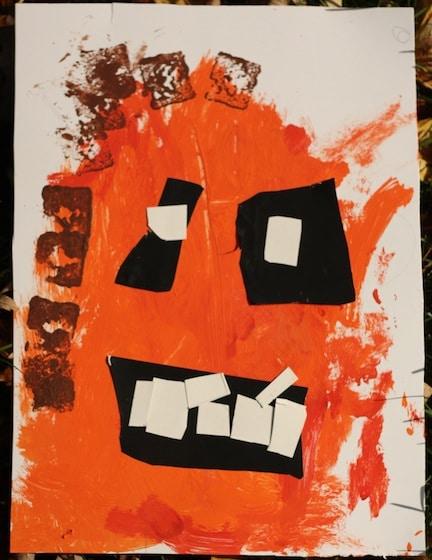 pumpkin painted by preschooler