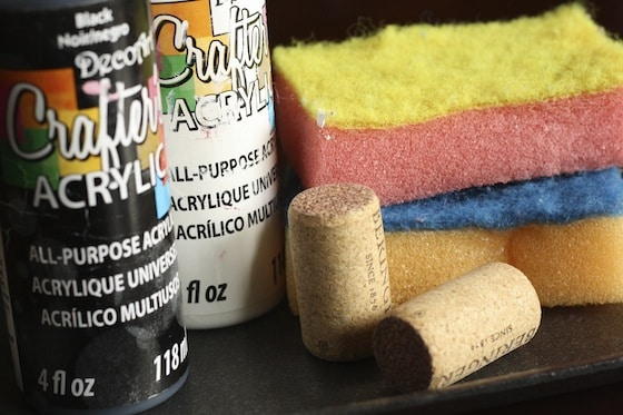 corks, sponges and paint