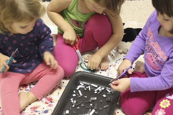 cutting styrofoam - great fine motor / scissor skill development
