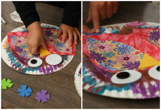 gluing beaks and feet to paper plate owl & Paper Plate Owls for Preschoolers - Happy Hooligans