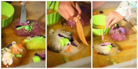 using pate knives, small spoons and brushes to melt ice with salt in a kid's science experiment