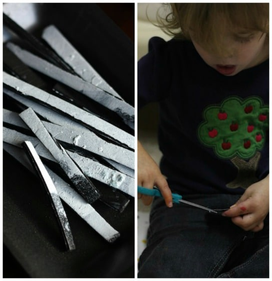 "painted styrofoam strips are the ""bones"" for a skeleton foot craft"