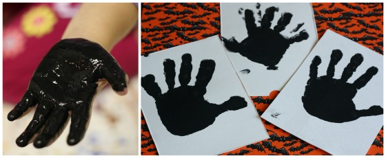 a palm and fingers painted black makes a great skeleton handprint