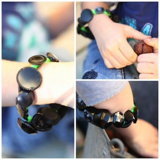 black and green button bracelet