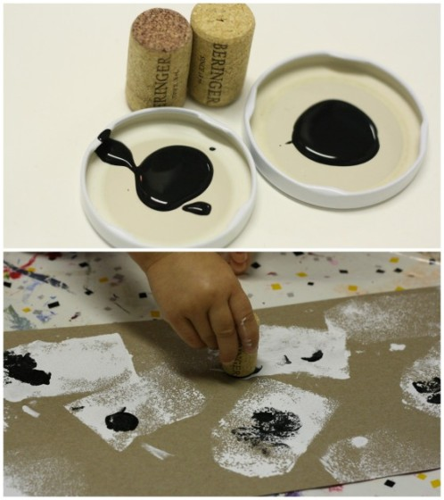 stamping ghost eyes with corks dipped in black paint