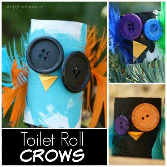 Toilet Roll Halloween Crows for Kids to Make - Happy Hooligans