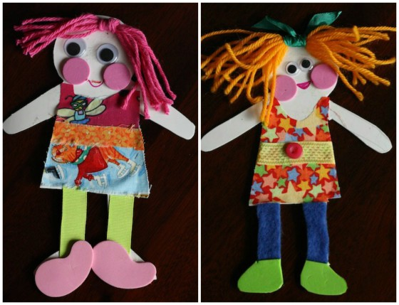 2 Homemade Paper Dolls