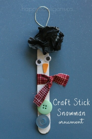 Craft Stick Snowman Christmas Tree Ornament